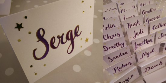 Calligraphy for place cards using watercolour paint, gold pen and gold sparkles
