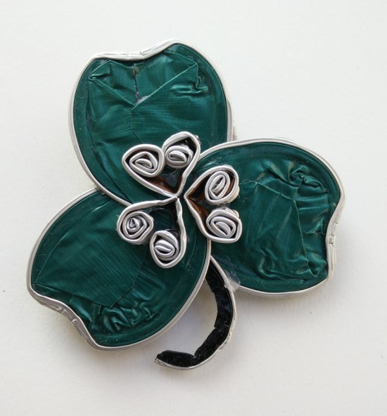 St Patrics day brooch made with recycled nespresso capsules