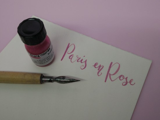Calligraphy : Testing pink Ink bought from L'Écritoire