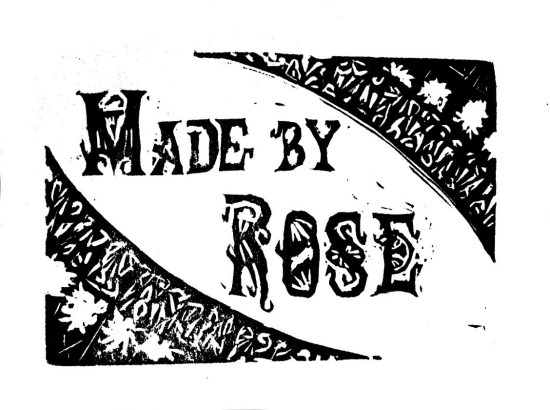 Hand carved rubber stamp : Made by Rose