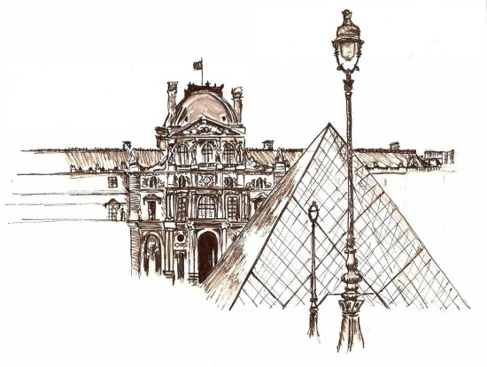 Ink sketch of the Louvre, Paris