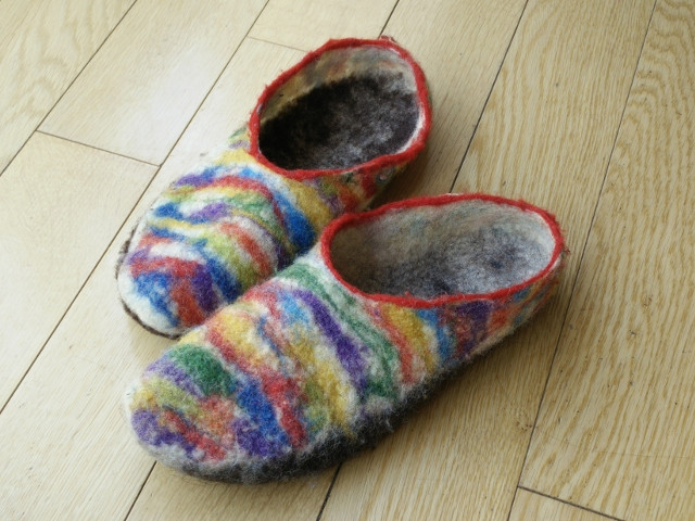 Hand felted slippers: The finished slippers