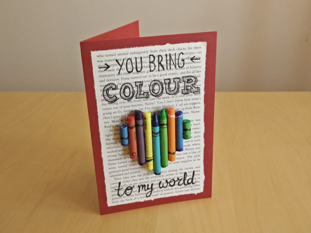 Créations en papier pour la saint valentin : T'apporte de la couleur dans mon monde