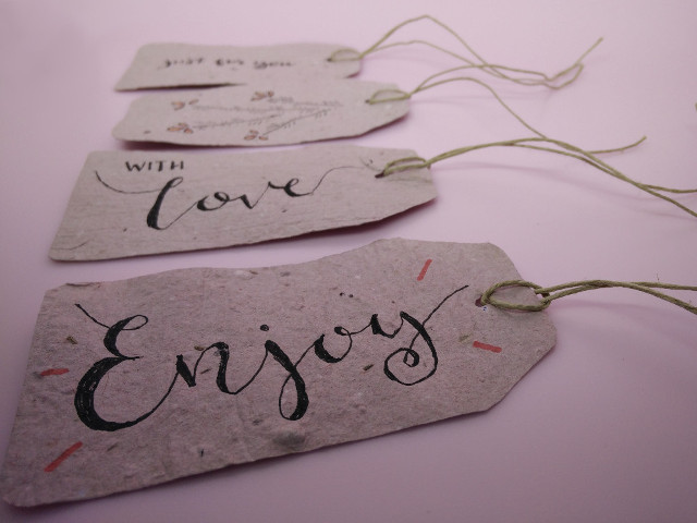 Plantable paper gift tags in the Paris en Rose etsy shop