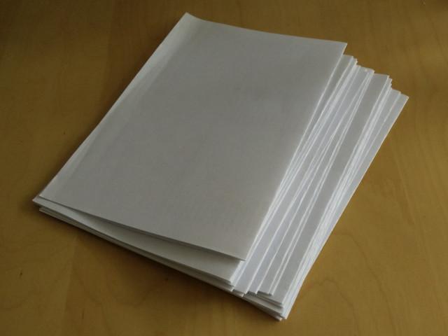 A4 scrap paper, folded in half