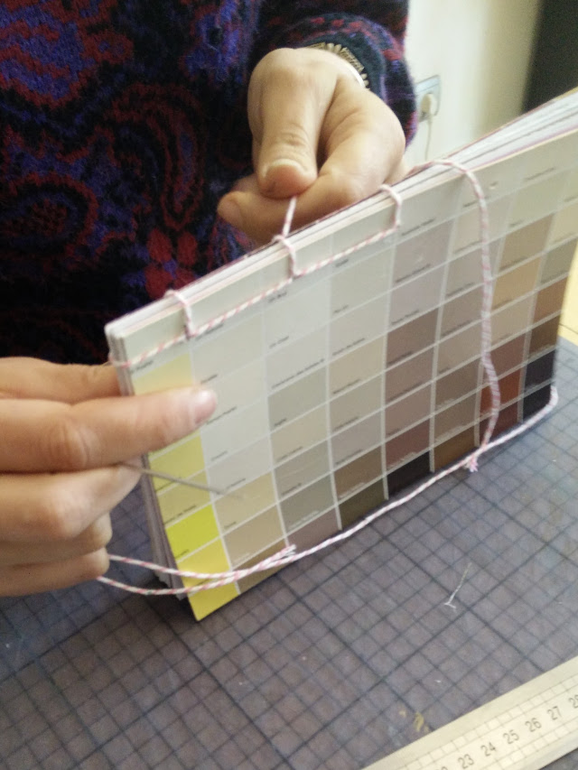 Binding the recycled notebook