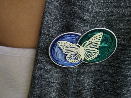 Brooch made with recycled nespresso capsules