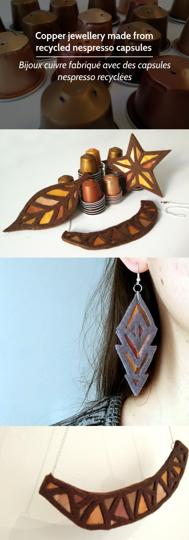 Copper jewellery made from nespresso capsules