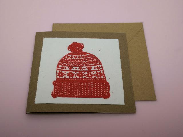Screen printed Christmas card