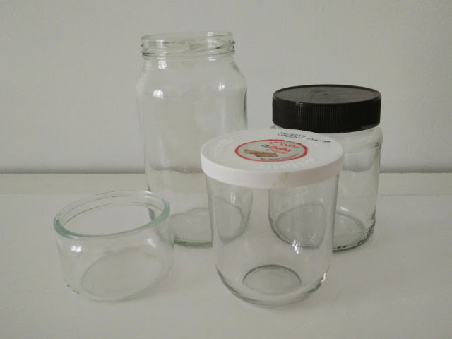 Use varied glass jars and containers to make smaller recycled glass lanterns