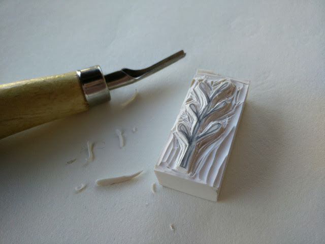 Carving the rubber stamps