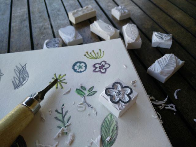 Hand carved rubber stamps paris en rose