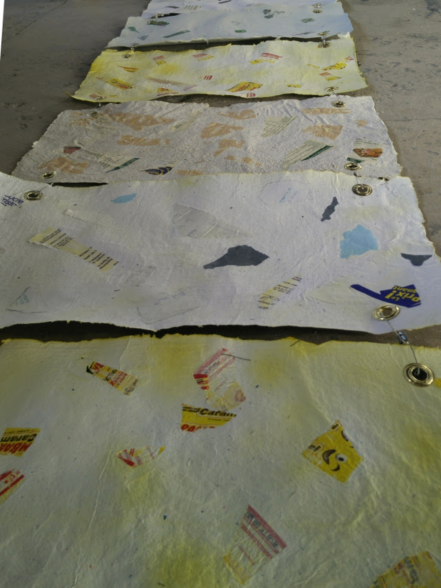 Tests made from wrappers of different products used for the creation of the installation