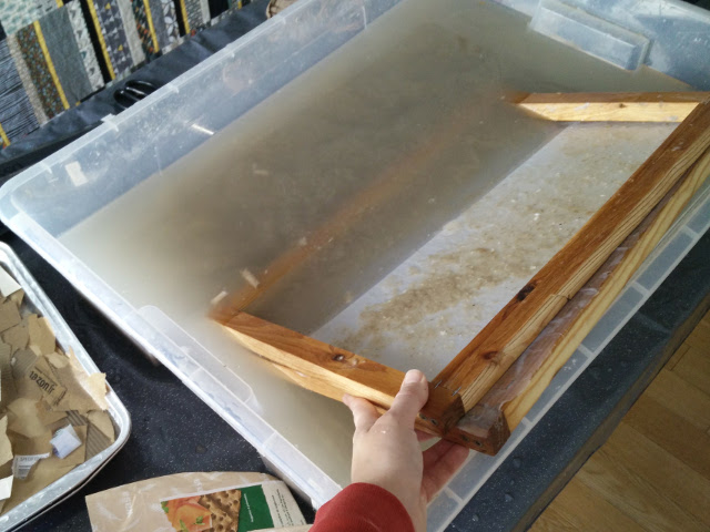 Recycled paper and cardboard is soaked and blended before being transformed into new sheets
