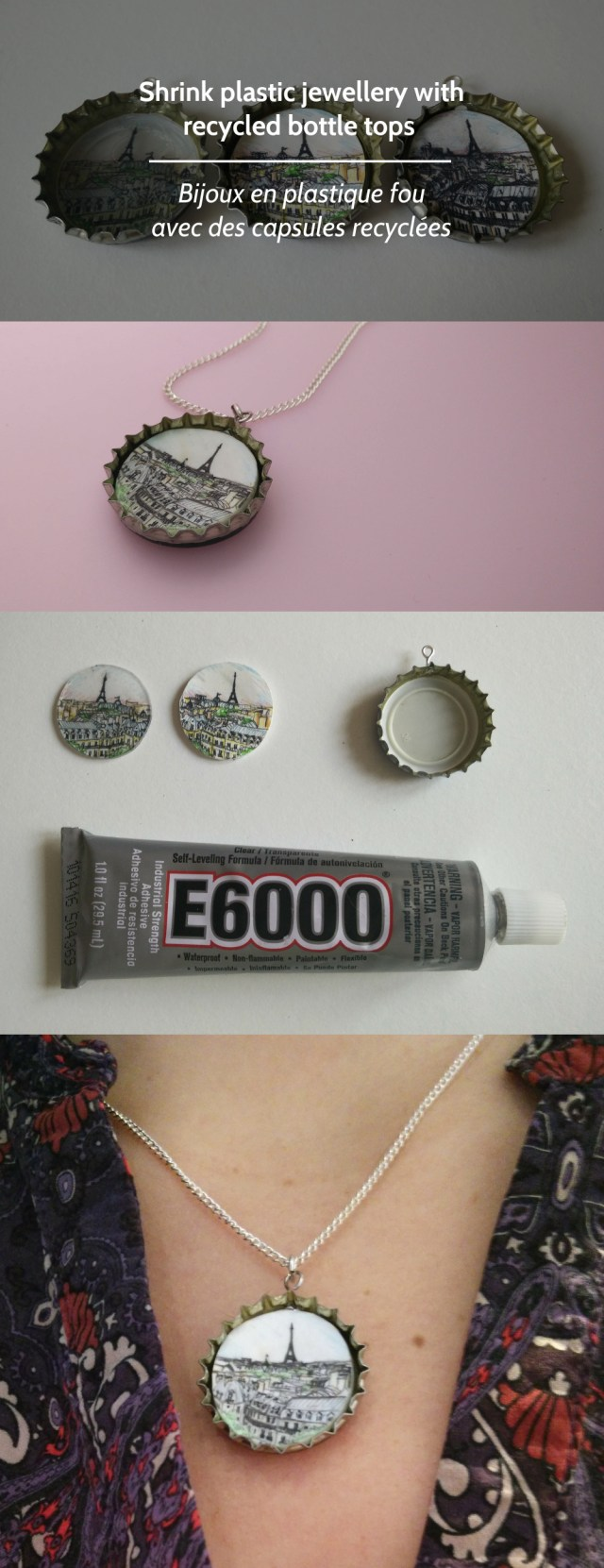 Shrink plastic jewellery with recycled bottle tops