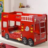 """Lit Superpos Enfant """"Pompier"""" Rouge"""