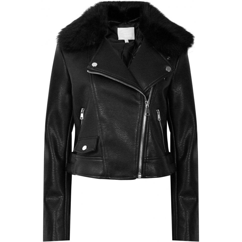 Ruby black leather jacket with faux fur collar