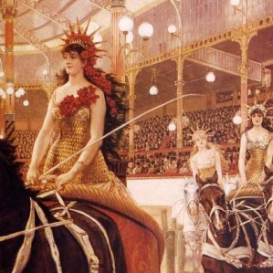 Riders inside the Montmartre Hippodrome
