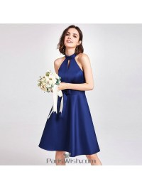 Knee Length Satin Halter Royal Blue Short Bridesmaid Dresses