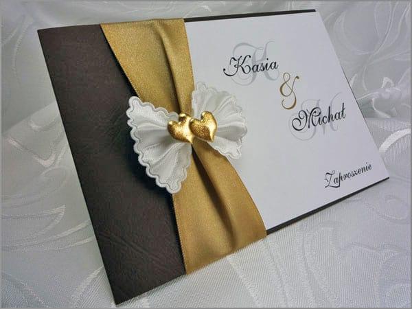 Eleganckie zaproszenia ślubne - złoto i brąz - PARKA