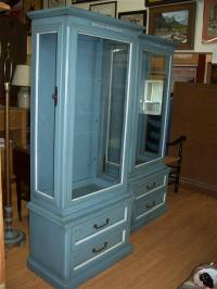 2 Blue Curio Cabinets - Parkway Drive Antiques