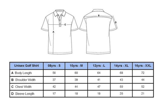 unisex size chart - Quality Junior Golf Apparel - Kids Golf Clothes