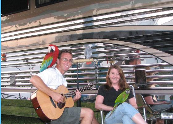 Parrot Trek Frank & Suzy, in their early 30s, hit the road in 2005. They travel with 3 parrots in an older Prevost bus, and consult to RV Parks.