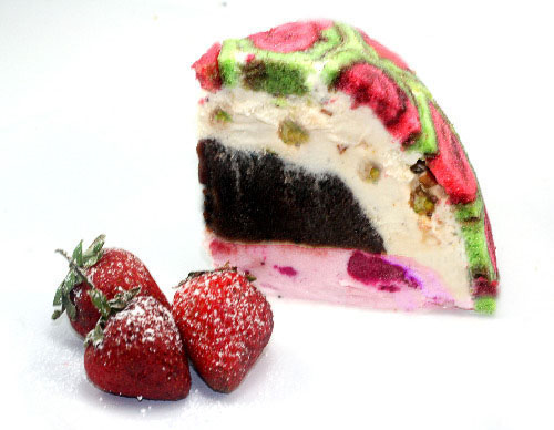 Strawberry Pistachio Swiss Roll Ice Cream Cake with a Hot Fudge center!