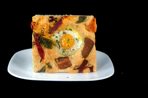 Focaccia with Bacon, Cheddar and 'Eggs in Wells' aka Breakfast Focaccia!