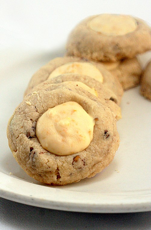 Melt-In-Your-Mouth Butter Pecan Thumbprint Cookies with White Chocolate Crunch Filling