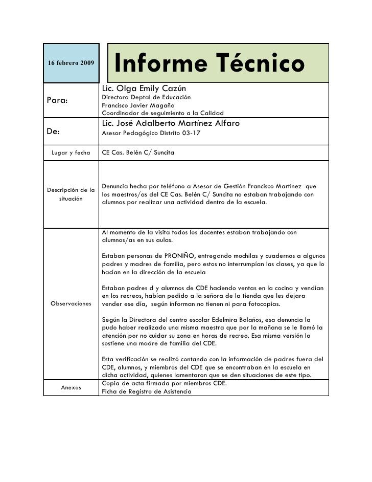 Partes del informe técnico - formato de informe escrito