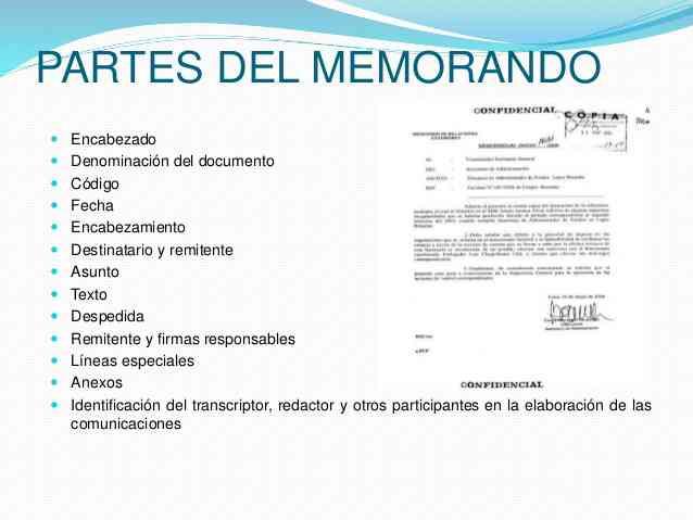 Partes de un memorandum