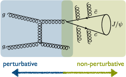 Figure 2: A basic way to produce quarkonium via the fragmentation of a gluon. The interactions highlighted in blue are calculated using standard perturbative QCD. The green zone is where things get tricky and non-perturbative models that are extracted from data must be used.