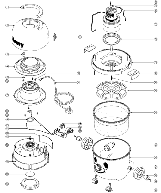 wiring diagram for henry vacuum cleaner