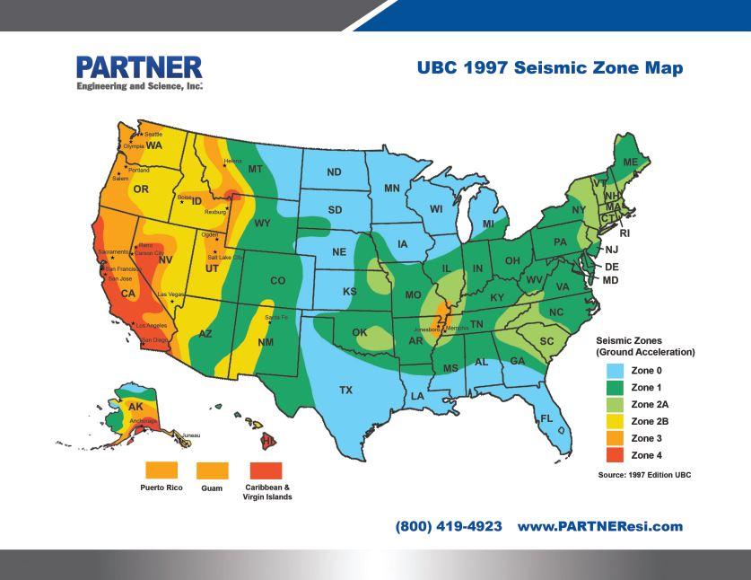Us Ubc 1997 Seismic Zone Map