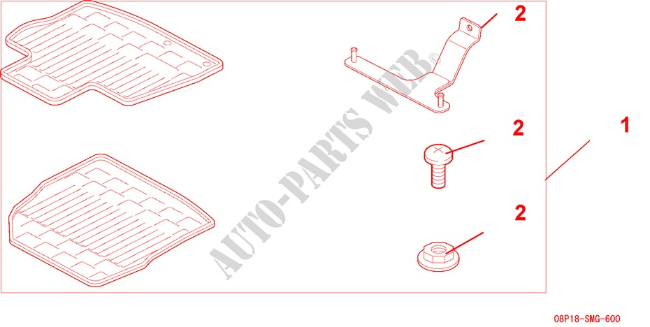RUBBER MAT FRONT RHD GENUINE ACCESSORIES 18 EXECUTIVE 2006 CIVIC