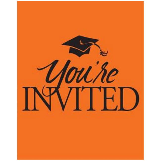 Congrats Grad Invitations, Orange Party at Lewis Elegant Party