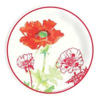Red Poppy 11-inch Paper Plates: Floral Closeouts