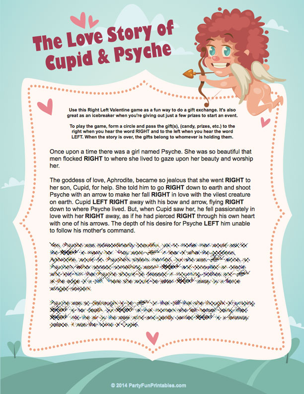 A Valentine Left Right Game - The Love Story of Cupid and Psyche