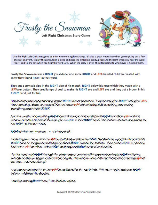 Frosty the Snowman Left Right Story Game