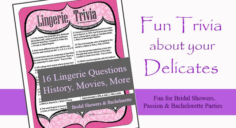Printable Lingerie Trivia Game