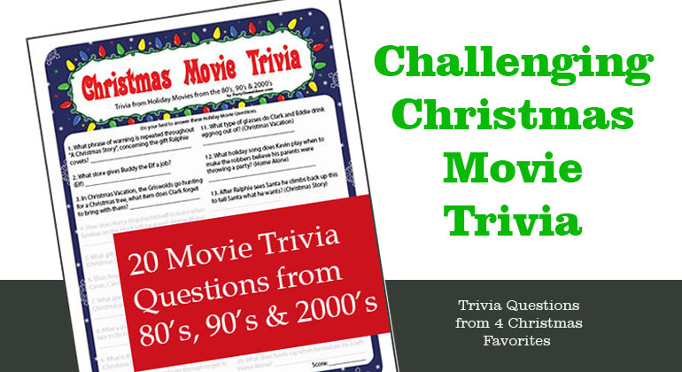 Christmas Movie Trivia Printable Game