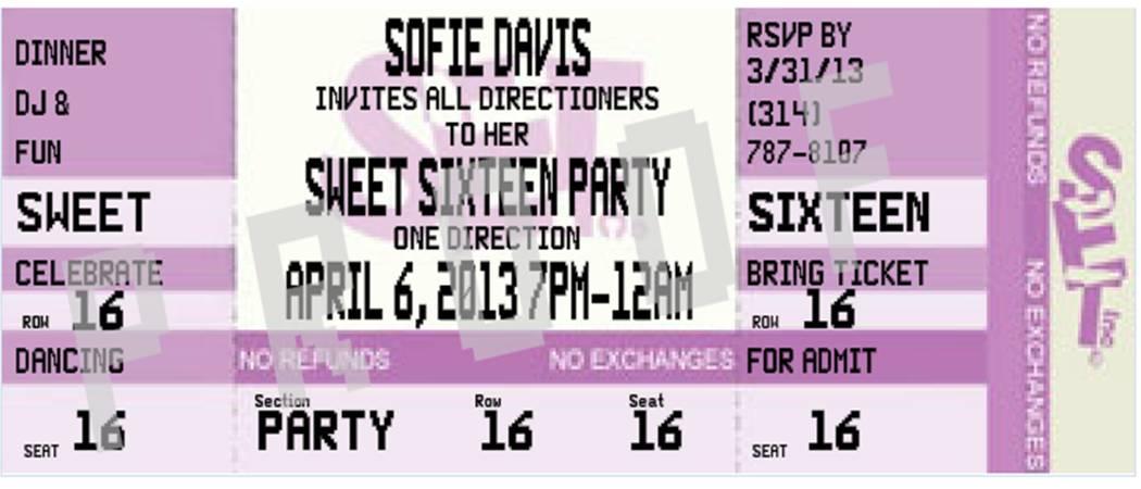 Sweet 16 Party Invitations \u2013 gangcraftnet - concert ticket birthday invitations