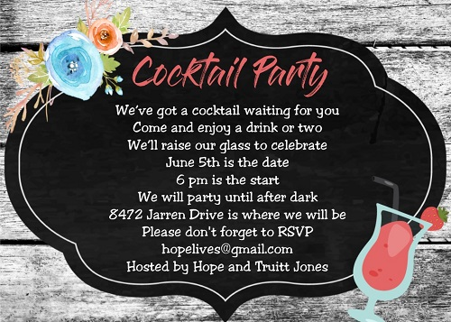 Cocktail Party invitation Unique custom created NEW selections for