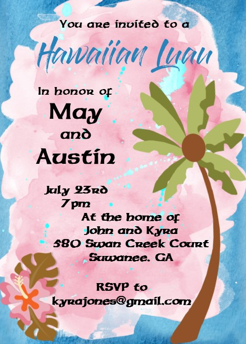 Luau Party Invitations Tropical  Beach Party Spring 2019