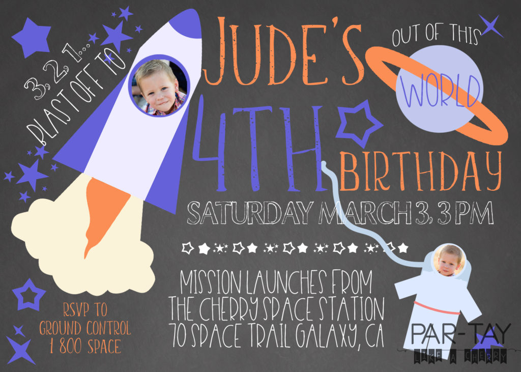 Free Space Party Invitation Template - Party Like a Cherry