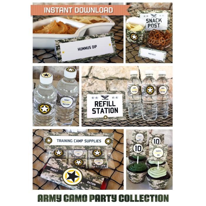 Digital Camo Birthday Party Printable Collection  Invitation - Army