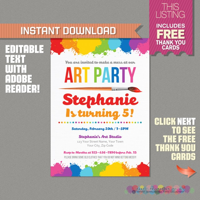 Art Party Invitation with FREE Thank you Card - Art Birthday Party - cards party