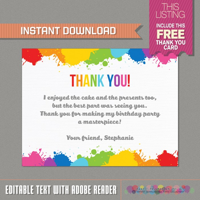 Art Party Invitation with FREE Thank you Card - Art Birthday Party - free thank you cards