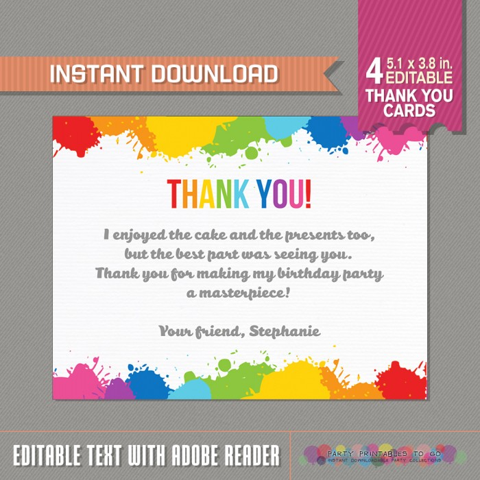 Art Party Thank you Cards - Art Birthday Party - Art Birthday